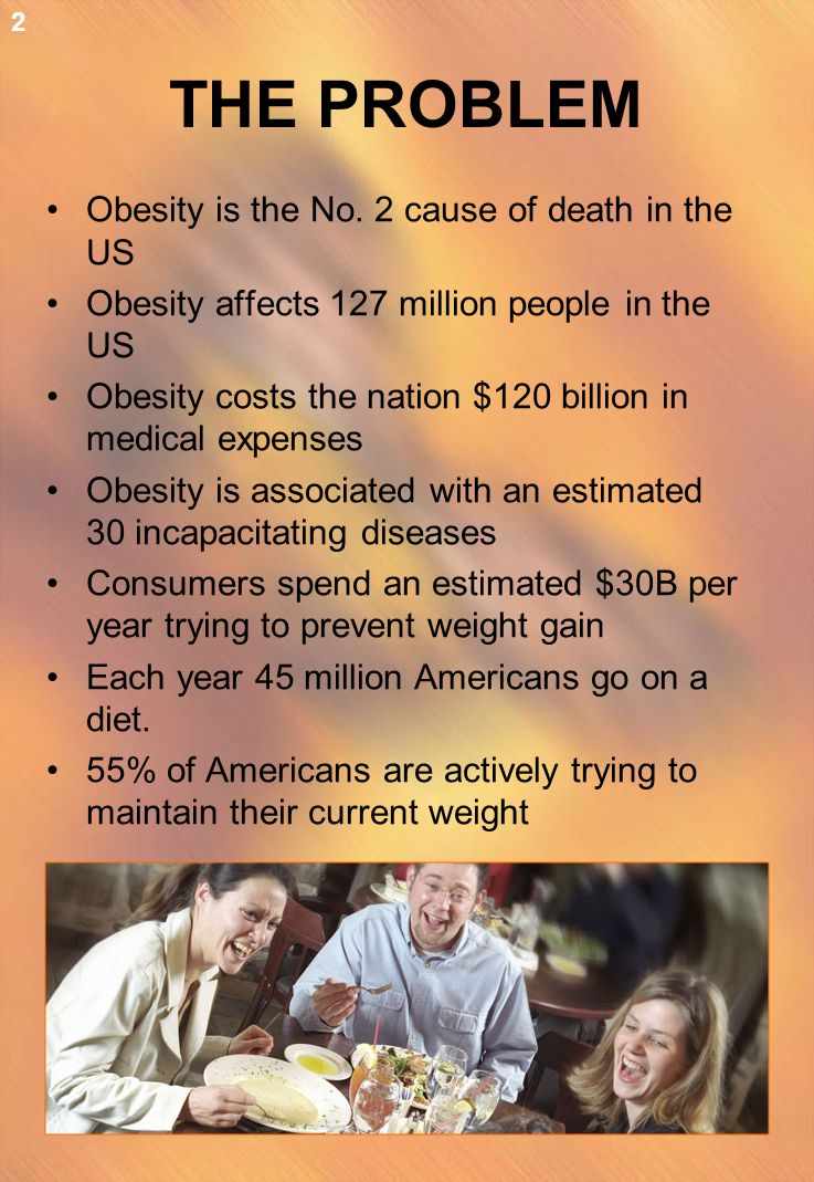 THE PROBLEM Obesity is the No. 2 cause of death in the US Obesity affects 127 million people in the US Obesity costs the nation $120 billion in medica