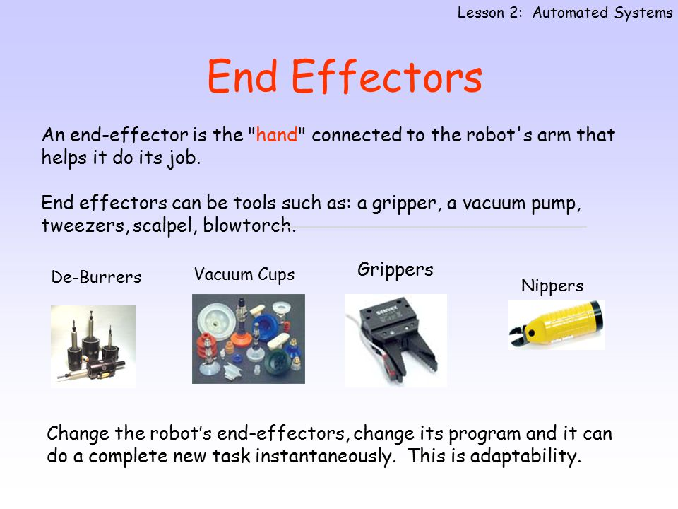 Hydraulic actuators  very high power requirements, eg cutting Pneumatic actuators  high power requirements eg gripping, moving robots parts.