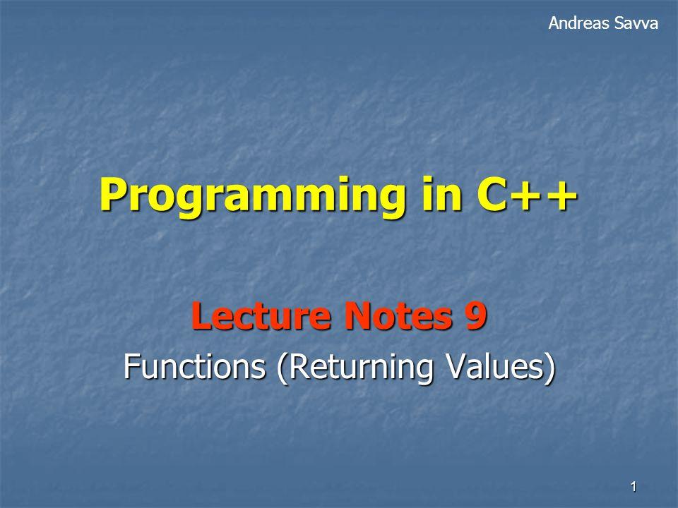 12 Procedure Vs Function #include using namespace std; int num; Display void Display( ) { cout << I like college ; } MySqr int MySqr (int x) { return x * x; } void main( ) Display( ) Display( ); MySqr cout << MySqr(3); MySqr num = 1 + 6 * MySqr(4); } Does not return a value Returns