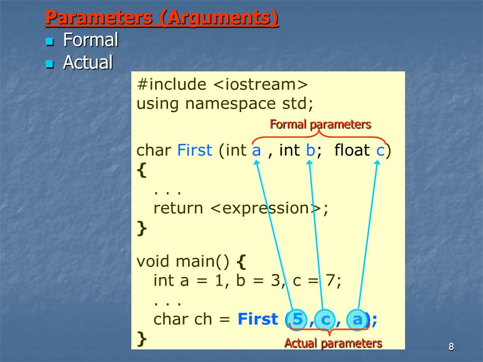 8 #include using namespace std; char First (int a, int b; float c) {...