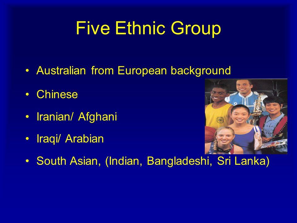 Five Ethnic Group Australian from European background Chinese Iranian/ Afghani Iraqi/ Arabian South Asian, (Indian, Bangladeshi, Sri Lanka)