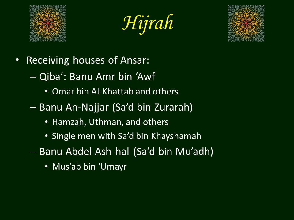 Hijrah Receiving houses of Ansar: – Qiba': Banu Amr bin 'Awf Omar bin Al-Khattab and others – Banu An-Najjar (Sa'd bin Zurarah) Hamzah, Uthman, and others Single men with Sa'd bin Khayshamah – Banu Abdel-Ash-hal (Sa'd bin Mu'adh) Mus'ab bin 'Umayr