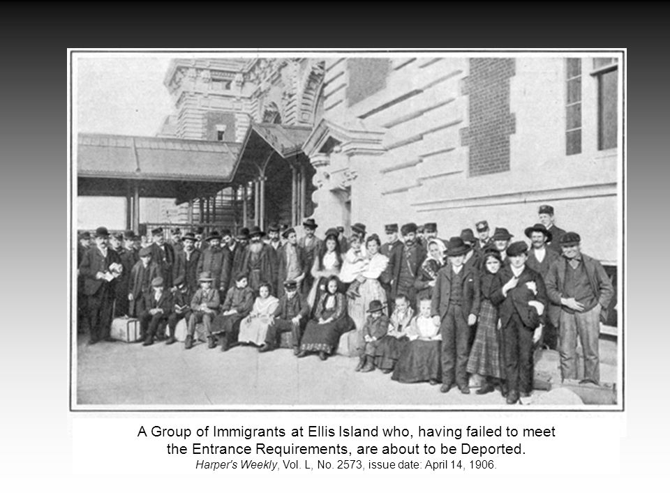 A Group of Immigrants at Ellis Island who, having failed to meet the Entrance Requirements, are about to be Deported.