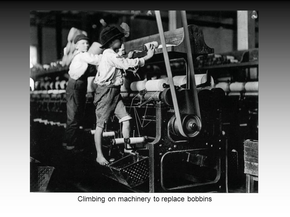 Climbing on machinery to replace bobbins