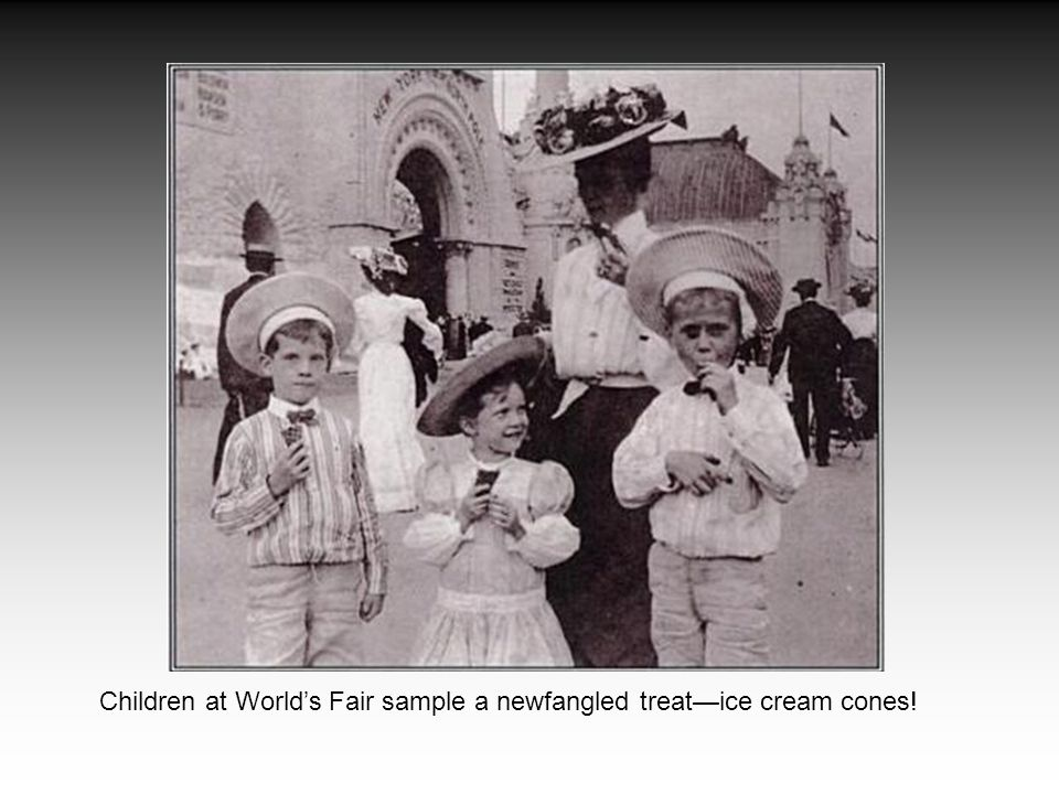 Children at World's Fair sample a newfangled treat—ice cream cones!