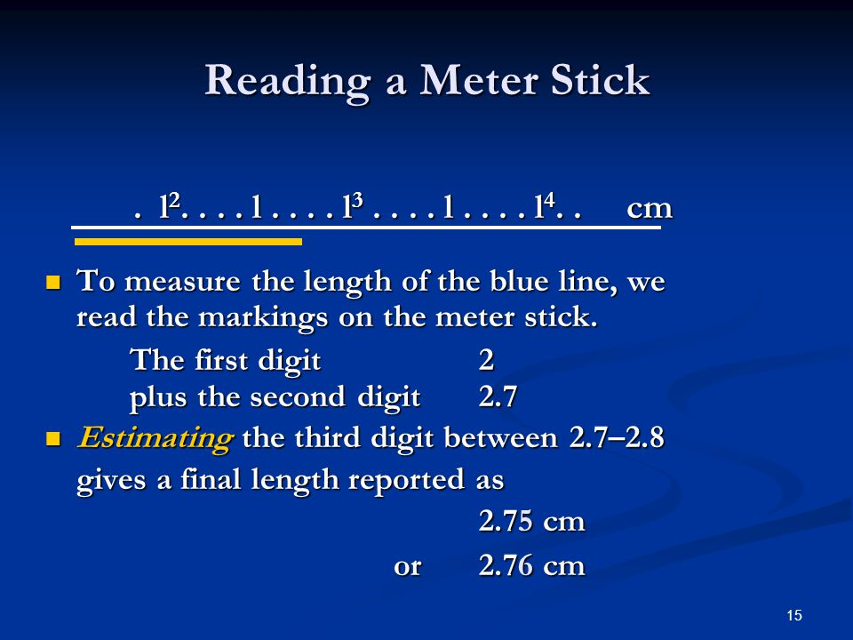 15. l 2.... l.... l 3.... l.... l 4.. cm To measure the length of the blue line, we read the markings on the meter stick. To measure the length of the
