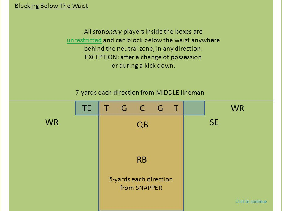 TE T G C G T QB WRSE WR RB Blocking Below The Waist All stationary players inside the boxes are unrestricted and can block below the waist anywhere behind the neutral zone, in any direction.