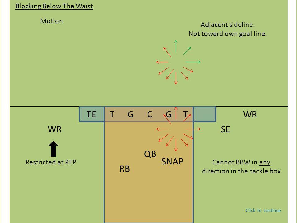 TE T G C G T QB WR RB Blocking Below The Waist Motion Restricted at RFP SE WR Adjacent sideline.