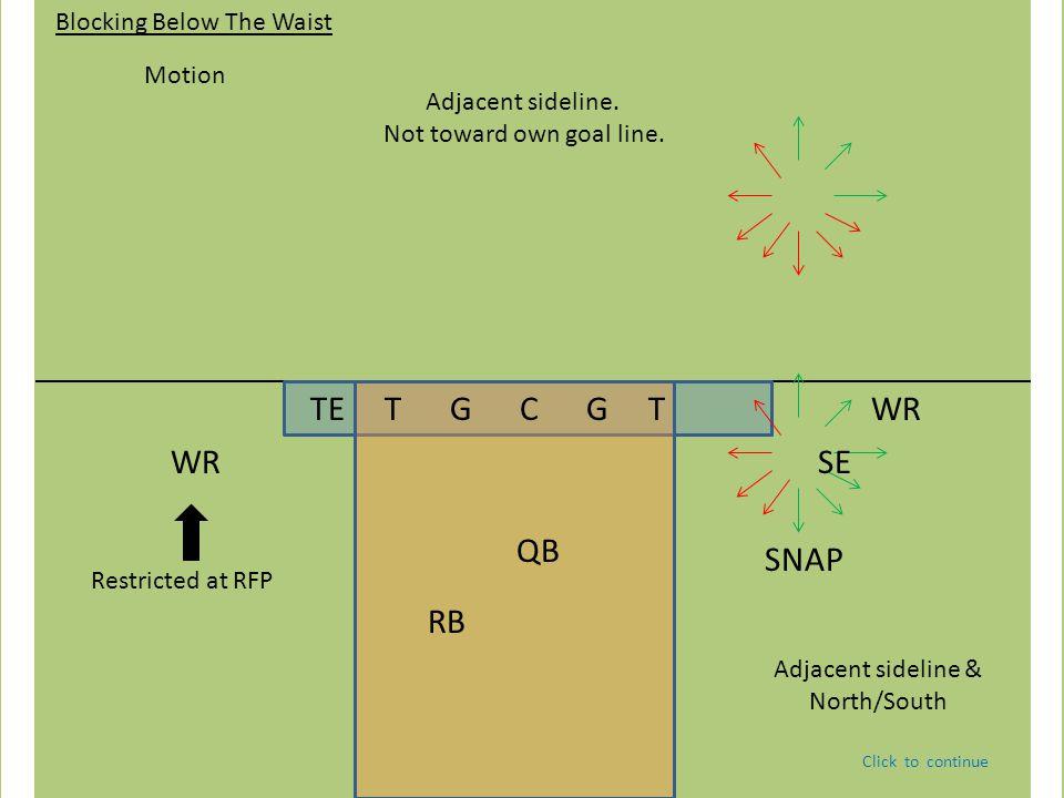 TE T G C G T QB WR RB Blocking Below The Waist Motion Restricted at RFP SE WR Adjacent sideline. Not toward own goal line. Adjacent sideline & North/S