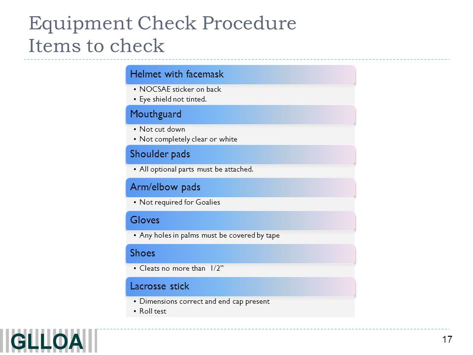 17 Equipment Check Procedure Items to check Helmet with facemask NOCSAE sticker on back Eye shield not tinted.
