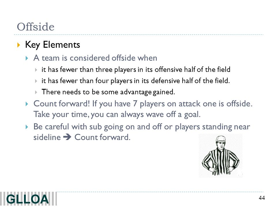 44 Offside  Key Elements  A team is considered offside when  it has fewer than three players in its offensive half of the field  it has fewer than four players in its defensive half of the field.