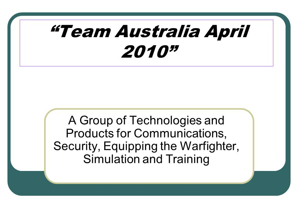 What is Team Australia .