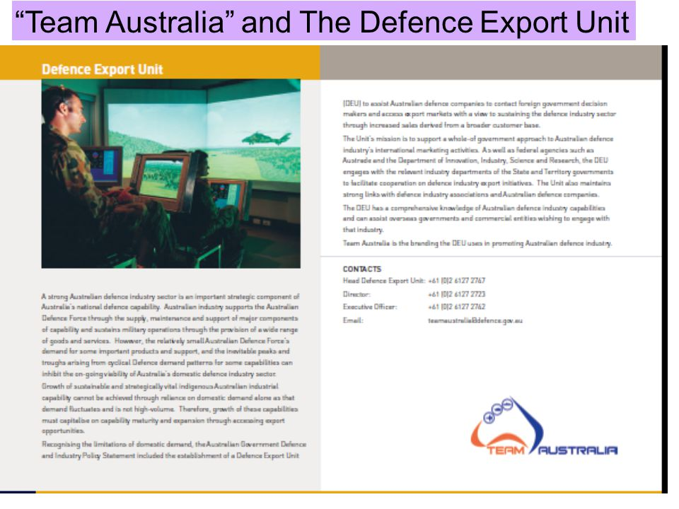 Team Australia and The Defence Export Unit