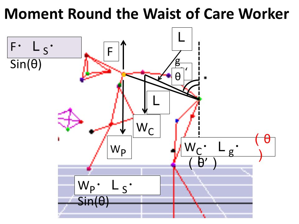 Moment Round the Waist of Care Worker L F LSLS W P ・L S ・ Sin(θ) F ・L S ・ Sin(θ) W C ・L g ・ Sin ( θ' ) θ' LgLg WCWC WPWP (θ)(θ) θ