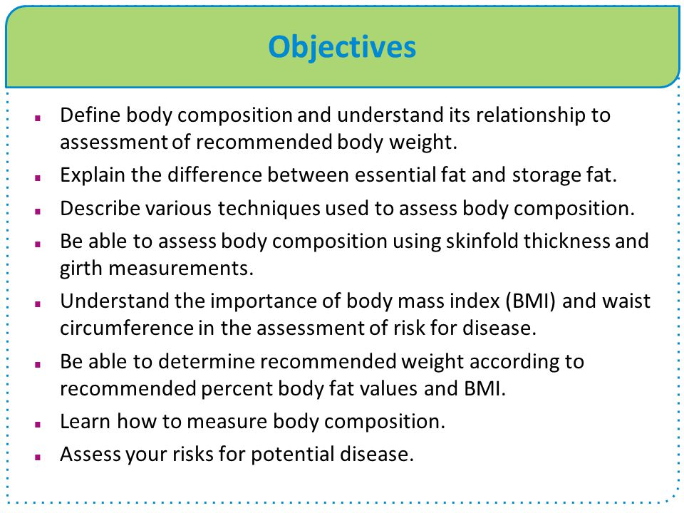 Determining Recommended Body Weight EXAMPLE: Sex: FemaleFP: 30% (.30) Age: 19 yearsDFP: 22% (.22) BW: 160 lbs.