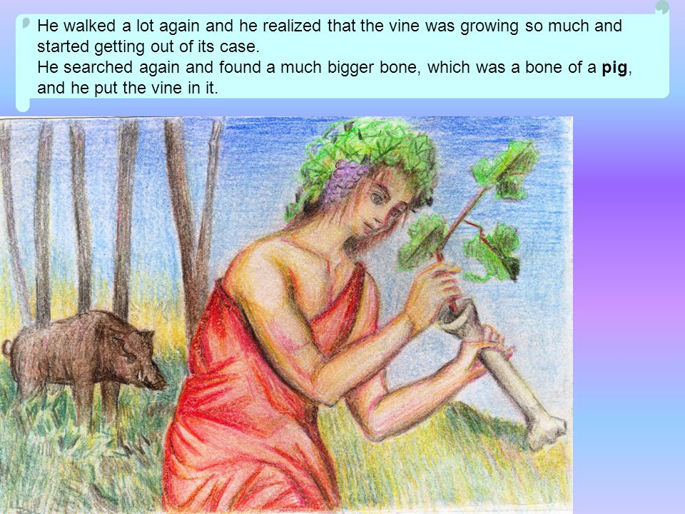 He walked a lot again and he realized that the vine was growing so much and started getting out of its case.