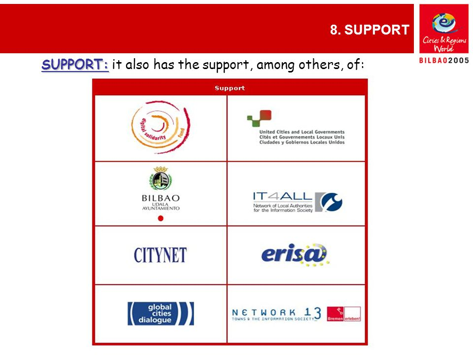 8. SUPPORT GINEBRA, 9-12 diciembre SUPPORT: SUPPORT: it also has the support, among others, of: