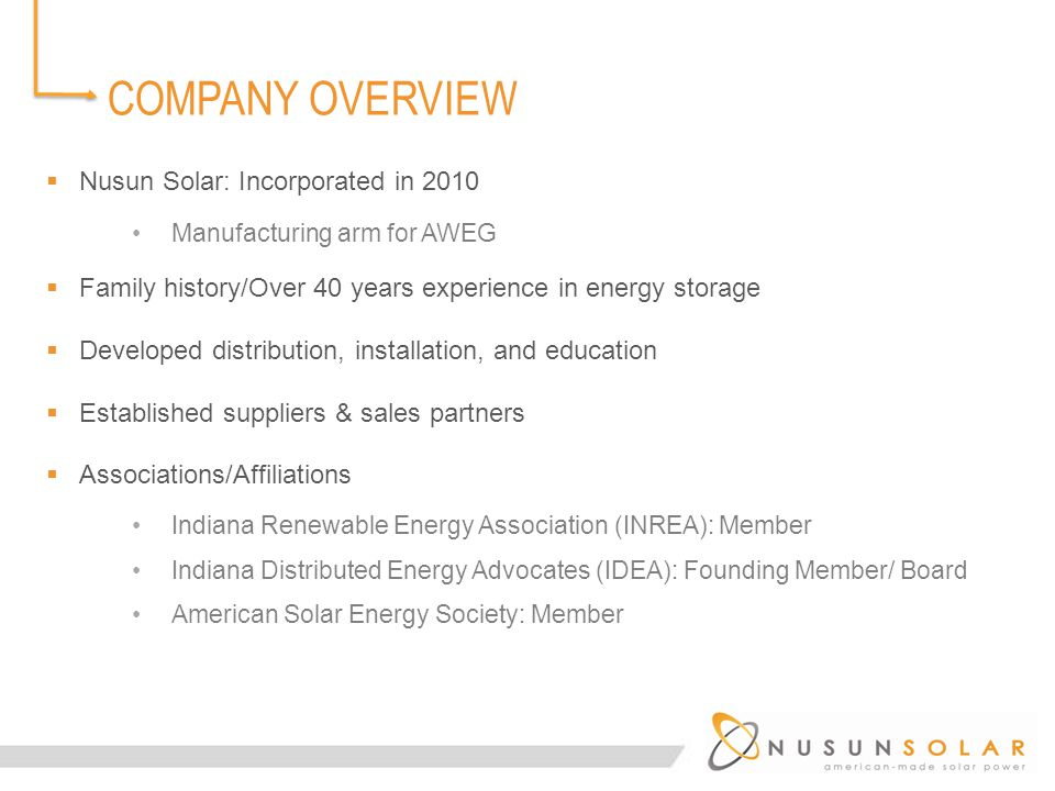  Nusun Solar: Incorporated in 2010 Manufacturing arm for AWEG  Family history/Over 40 years experience in energy storage  Developed distribution, installation, and education  Established suppliers & sales partners  Associations/Affiliations Indiana Renewable Energy Association (INREA): Member Indiana Distributed Energy Advocates (IDEA): Founding Member/ Board American Solar Energy Society: Member COMPANY OVERVIEW