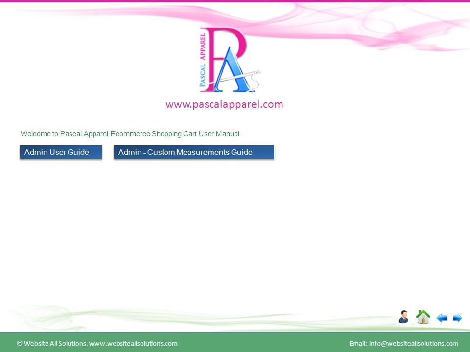 Welcome to Pascal Apparel Ecommerce Shopping Cart User Manual  Website All Solutions.