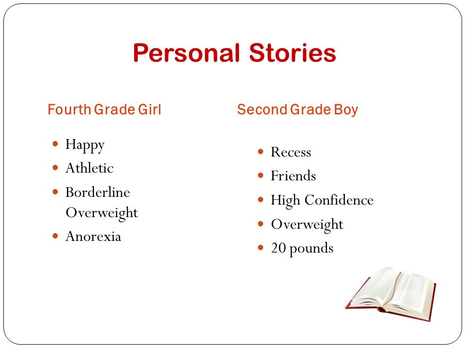 Personal Stories Fourth Grade GirlSecond Grade Boy Happy Athletic Borderline Overweight Anorexia Recess Friends High Confidence Overweight 20 pounds