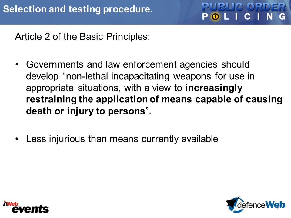 8 Selection and testing procedure.1)Needs assessment - set operational requirement.