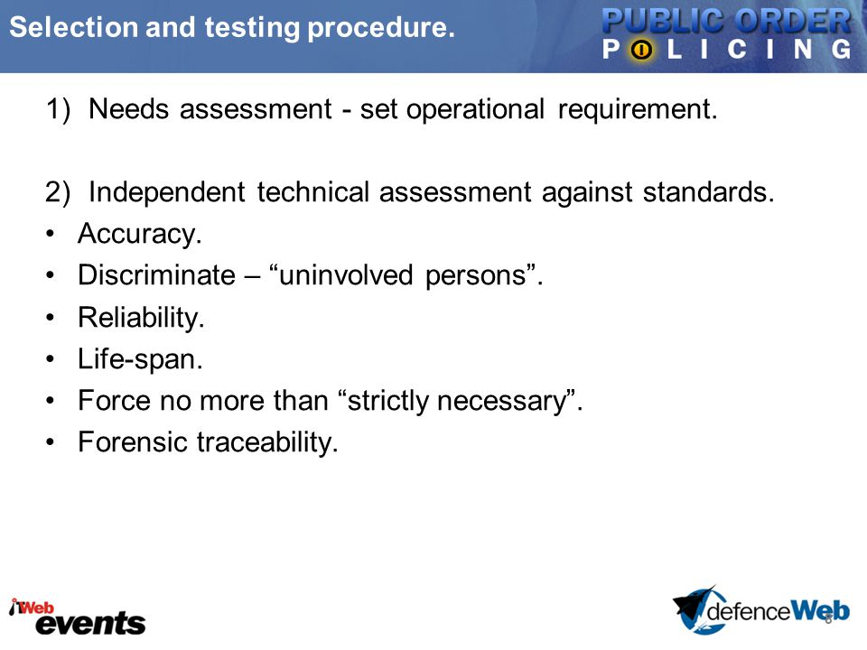 8 Selection and testing procedure. 1)Needs assessment - set operational requirement.