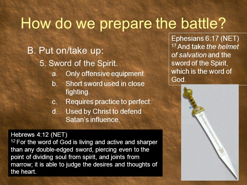 How do we prepare the battle. B. Put on/take up: 5.