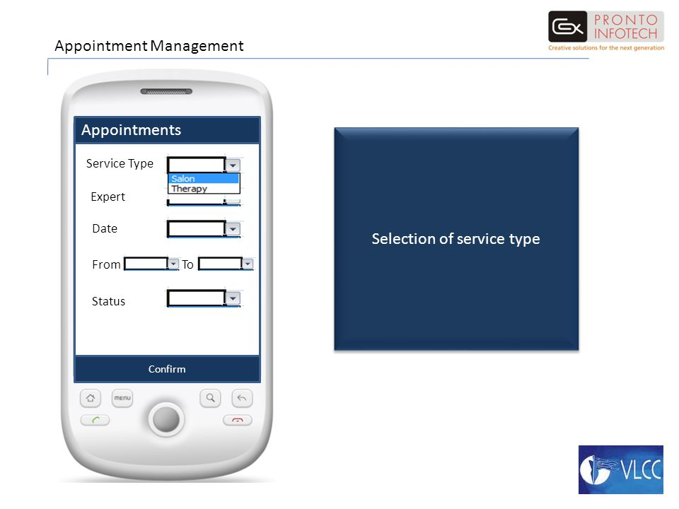 Appointments Confirm Service Type Expert Date FromTo Status Appointment Management Selection of service type