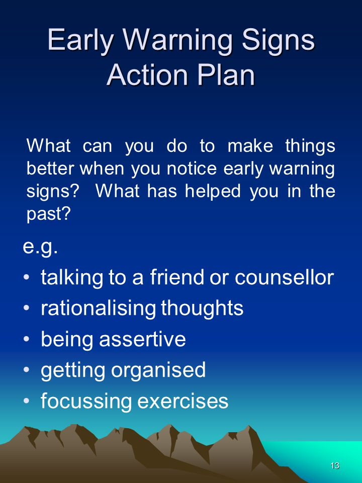 13 Early Warning Signs Action Plan e.g.