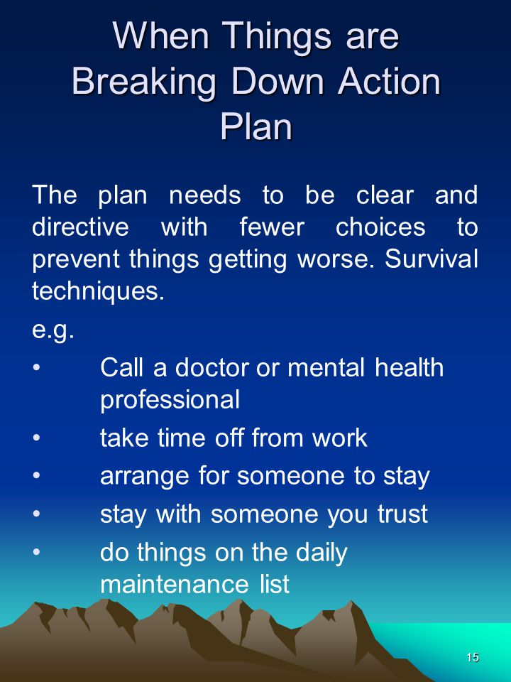 15 When Things are Breaking Down Action Plan e.g.