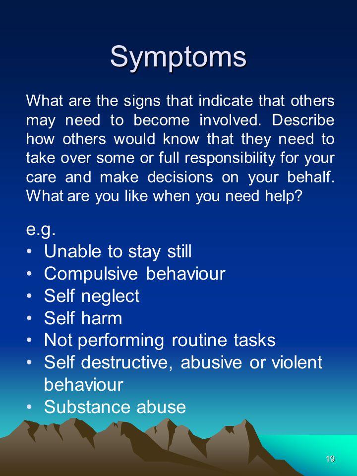 19 Symptoms e.g.