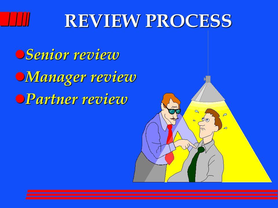 REVIEW PROCESS l Senior review l Manager review l Partner review
