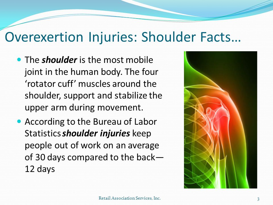 Overexertion Injuries: Shoulder Facts… The shoulder is the most mobile joint in the human body.