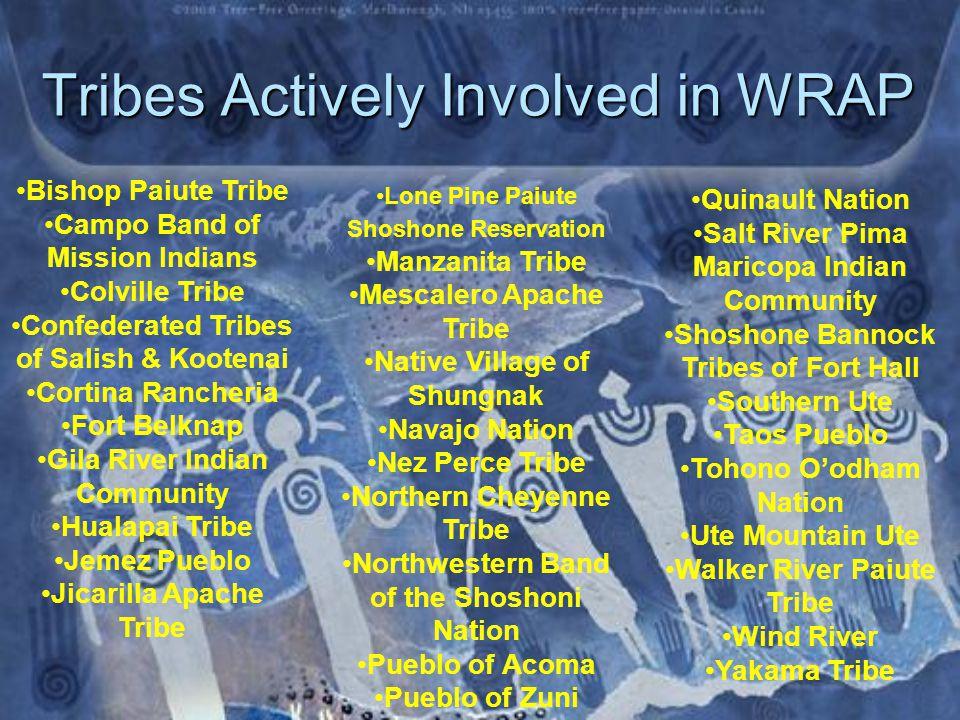 WRAP Tribal Board Members  Campo Band of Kumeyaay Indians –Mike Connolly –Melissa Estes (alt)  Confederated Tribes of Salish and Kootenai –Randy Ashley  Cortina Indian Rancheria –David C.