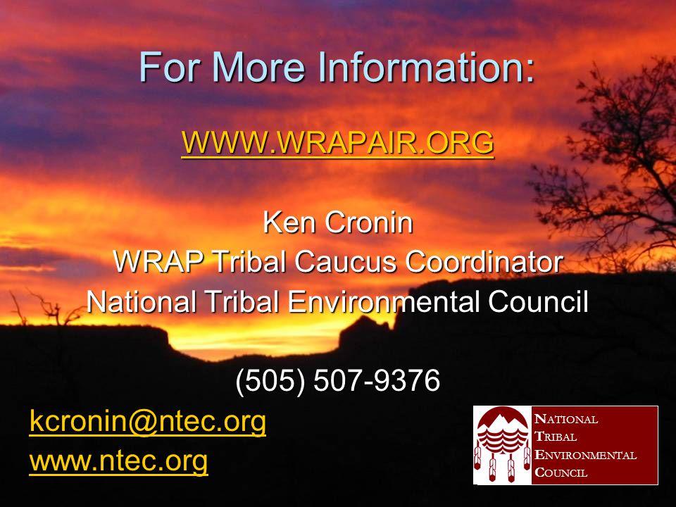 Lewis McLeod, WRAP Tribal Co-Director  Confederated Tribes of Salish & Kootenai member  (253) 203-5547