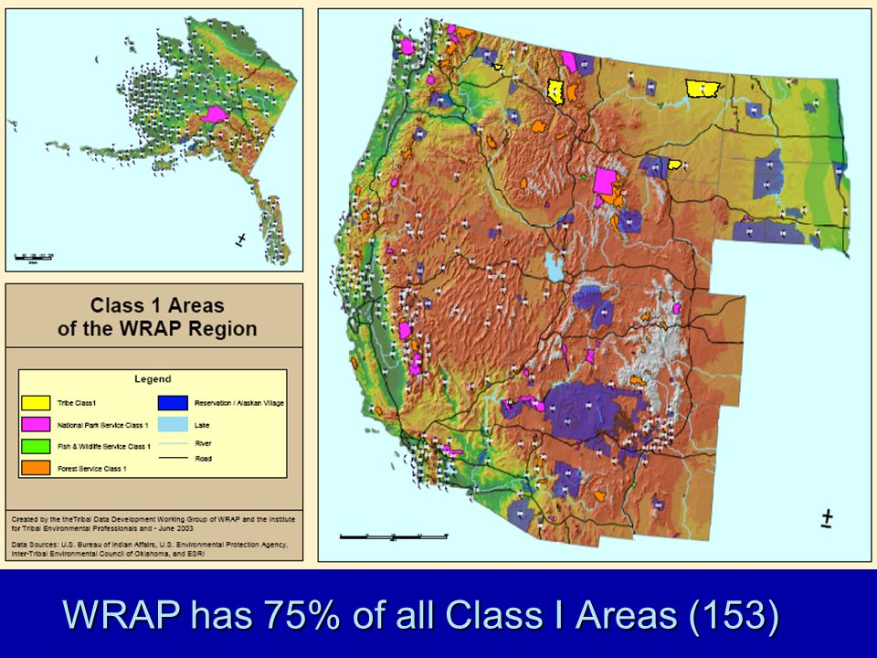 WRAP has 75% of all Class I Areas (153)