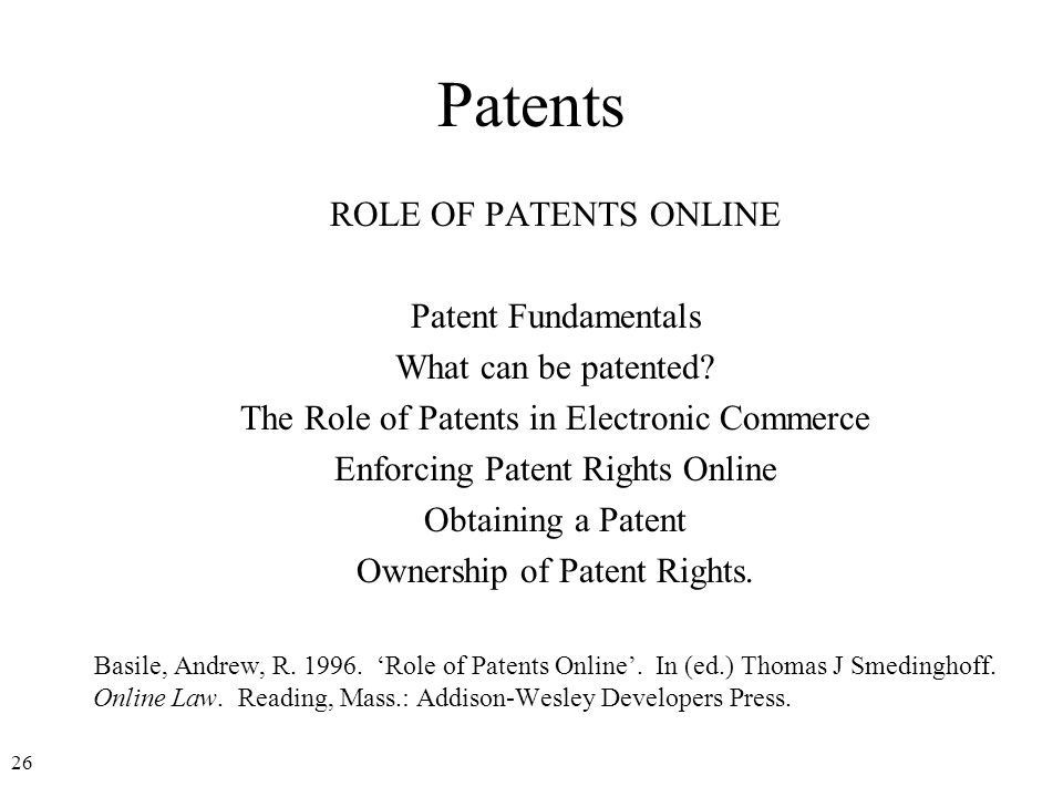 27 Patents Definition A patent is a right granted to an inventor by the federal government to exclude others from making, using, selling, or importing an invention.