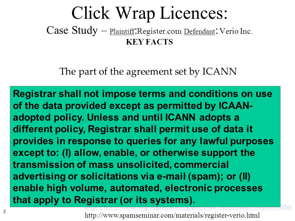 4 –Register.com prohibited the use of data obtained from the database not only for sending unsolicited electronic mail, as provided for by ICANN, but also for solicitation via regular mail and telephone.