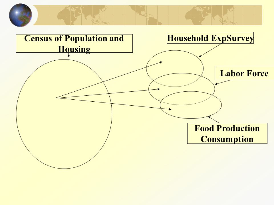 Household ExpSurvey Labor Force Food Production Consumption Census of Population and Housing