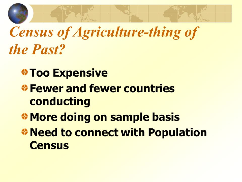 Census of Agriculture-thing of the Past.