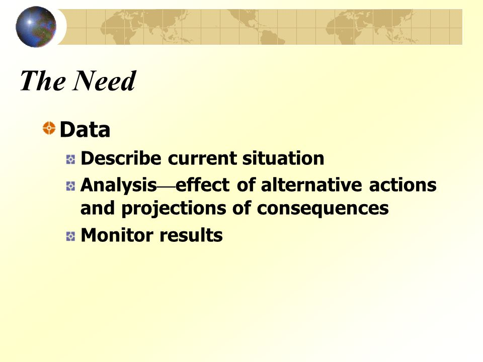 The Need Data Describe current situation Analysis — effect of alternative actions and projections of consequences Monitor results