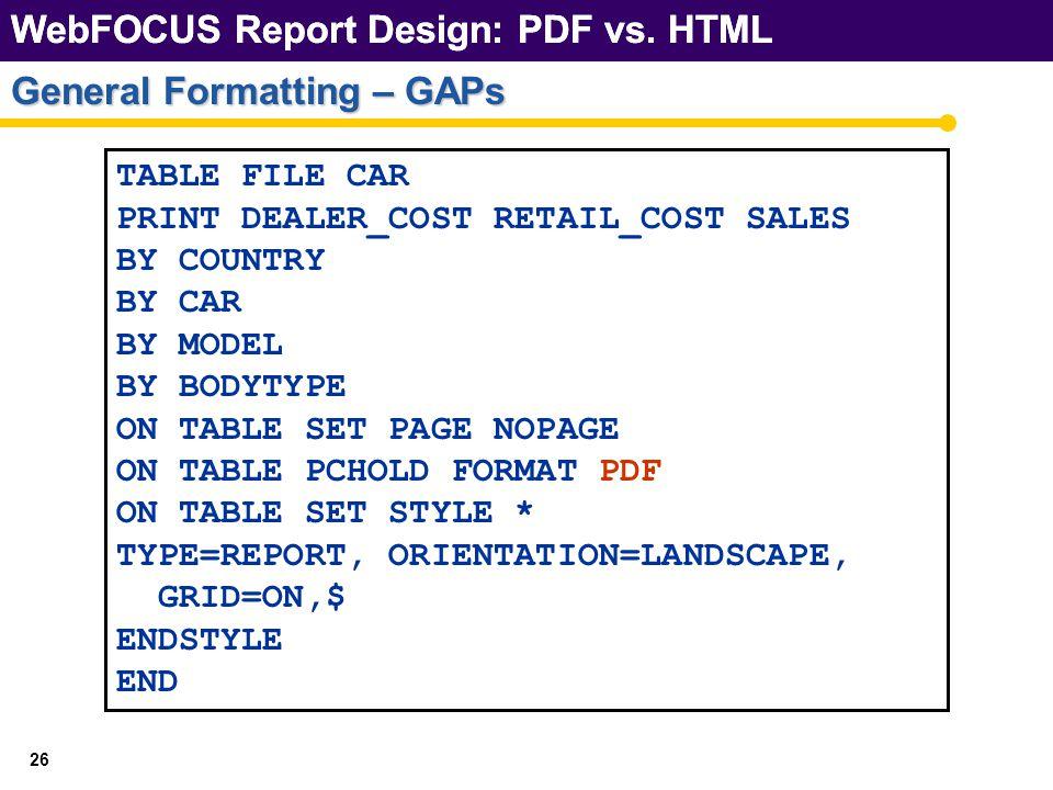 WebFOCUS Report Design: PDF vs. HTML 26 General Formatting – GAPs WebFOCUS Report Design: PDF vs.