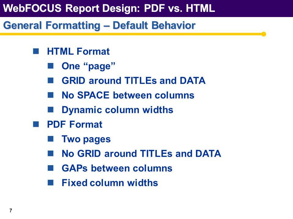 WebFOCUS Report Design: PDF vs.HTML 28 General Formatting – GAPs WebFOCUS Report Design: PDF vs.