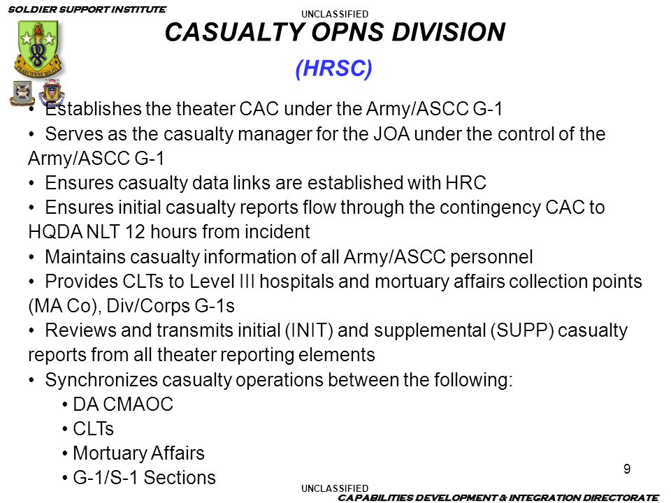 UNCLASSIFIED SOLDIER SUPPORT INSTITUTE CAPABILITIES DEVELOPMENT & INTEGRATION DIRECTORATE 9 Establishes the theater CAC under the Army/ASCC G-1 Serves