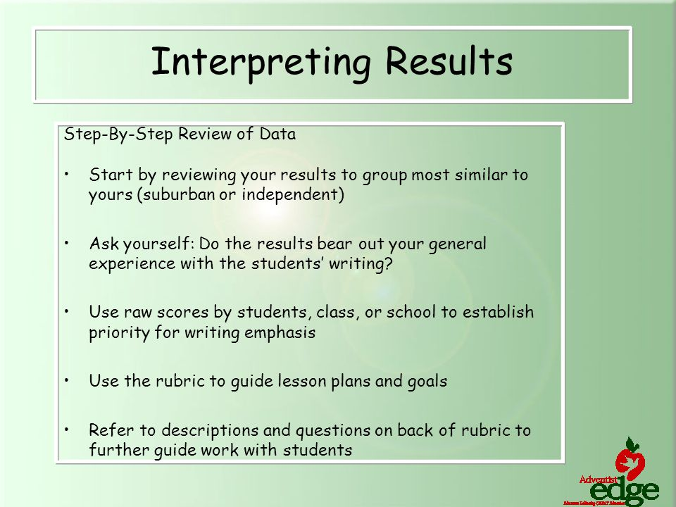 Step-By-Step Review of Data Start by reviewing your results to group most similar to yours (suburban or independent) Ask yourself: Do the results bear out your general experience with the students' writing.