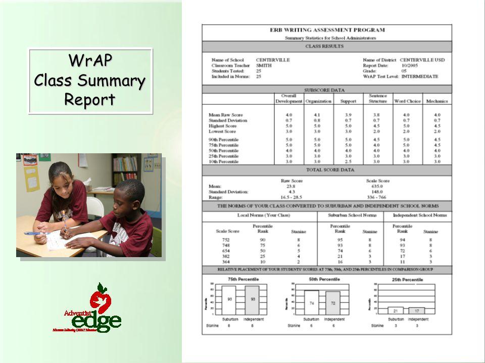 WrAP Class Summary Report