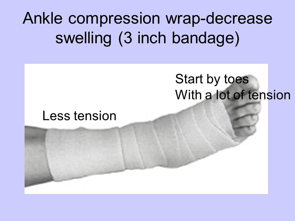 Ankle compression wrap-decrease swelling (3 inch bandage) Start by toes With a lot of tension Less tension