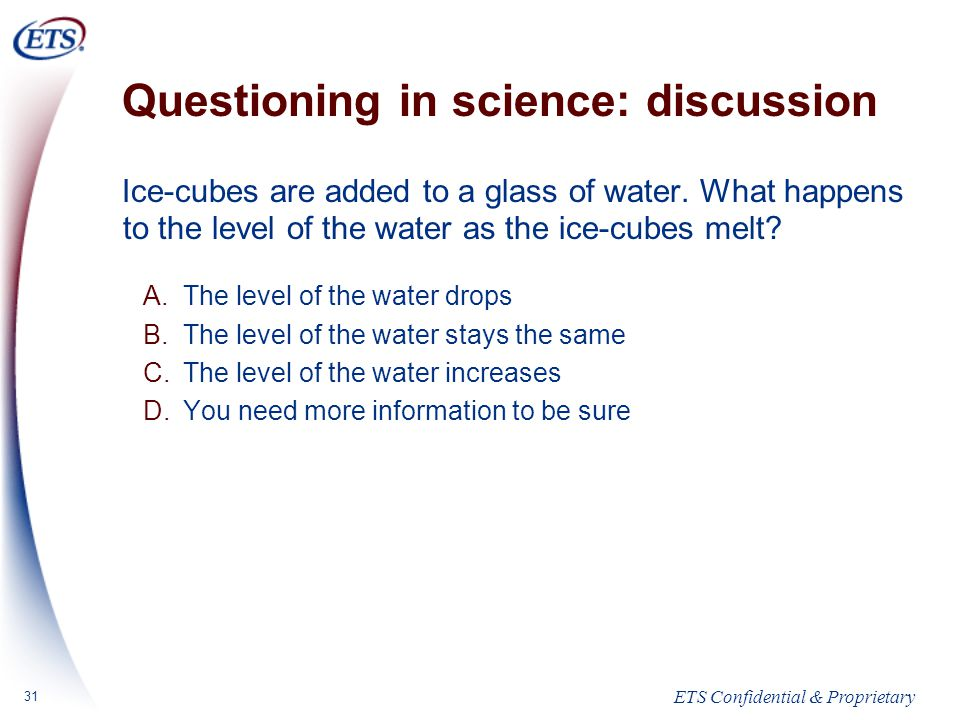 ETS Confidential & Proprietary 31 Questioning in science: discussion Ice-cubes are added to a glass of water.
