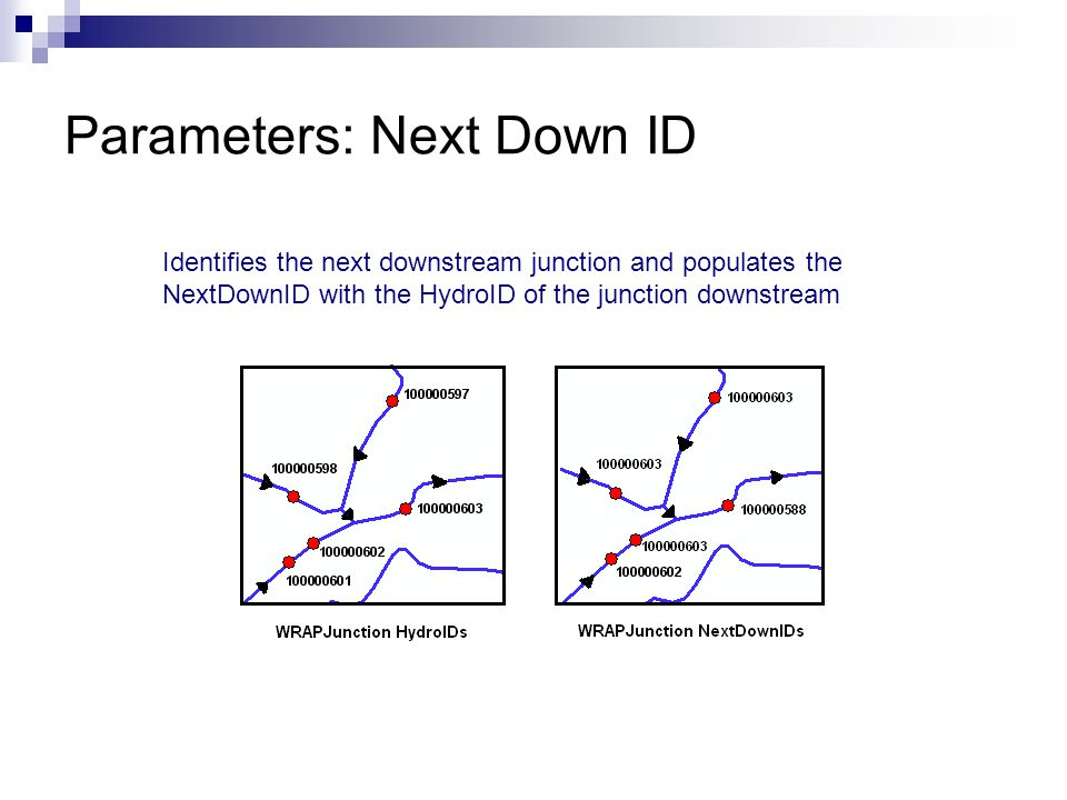 Parameters: Next Down ID Identifies the next downstream junction and populates the NextDownID with the HydroID of the junction downstream