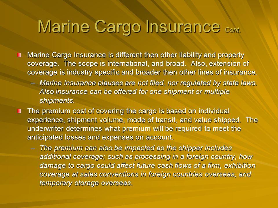 Marine Cargo Insurance Cont.